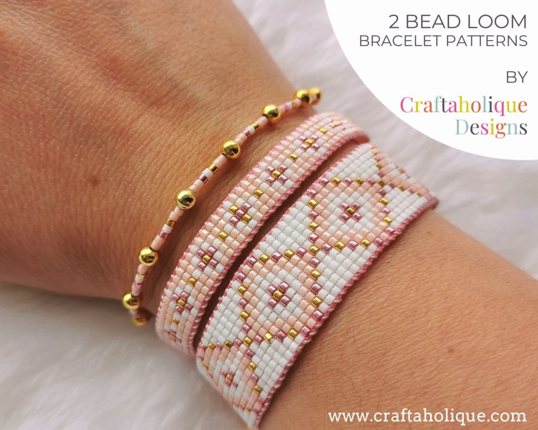 Pink, gold, white bead loom pattern - set of two patterns for bead loom stacking bracelets.