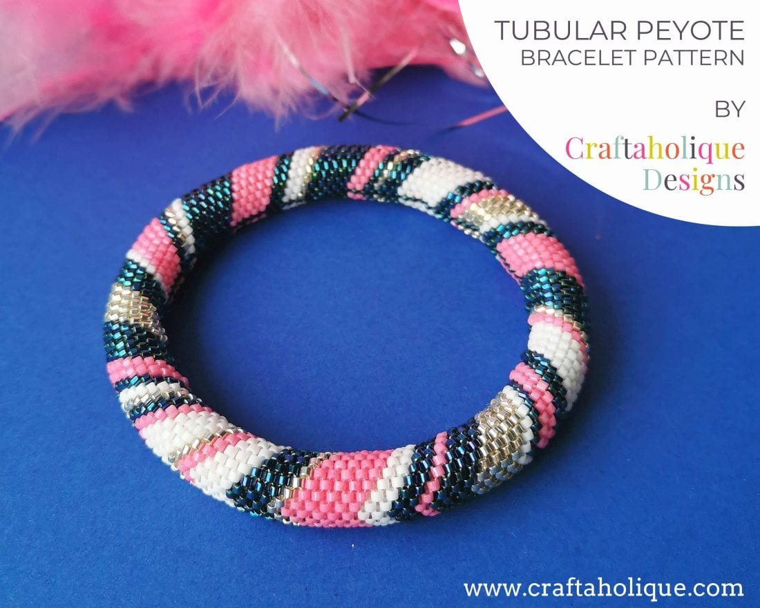 Tubular beaded bracelet pattern chevron design in blue, pink, white and silver