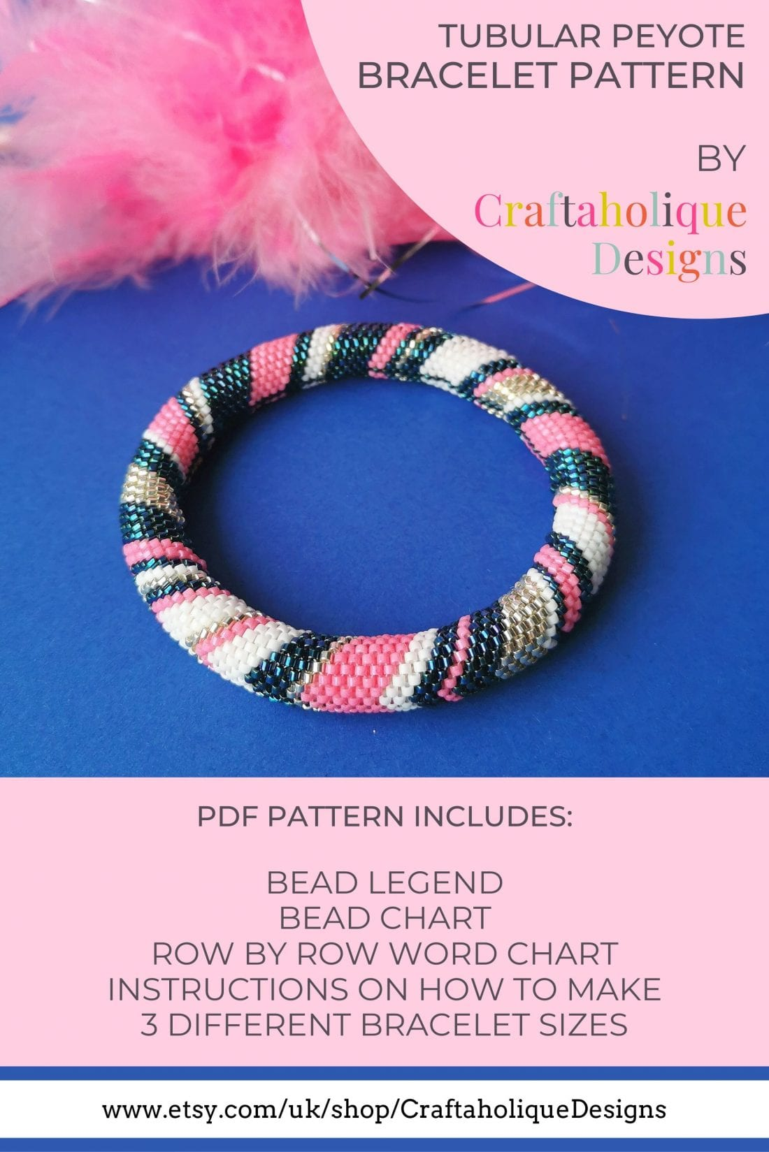 Tubular peyote bracelet pattern blue pink chevron