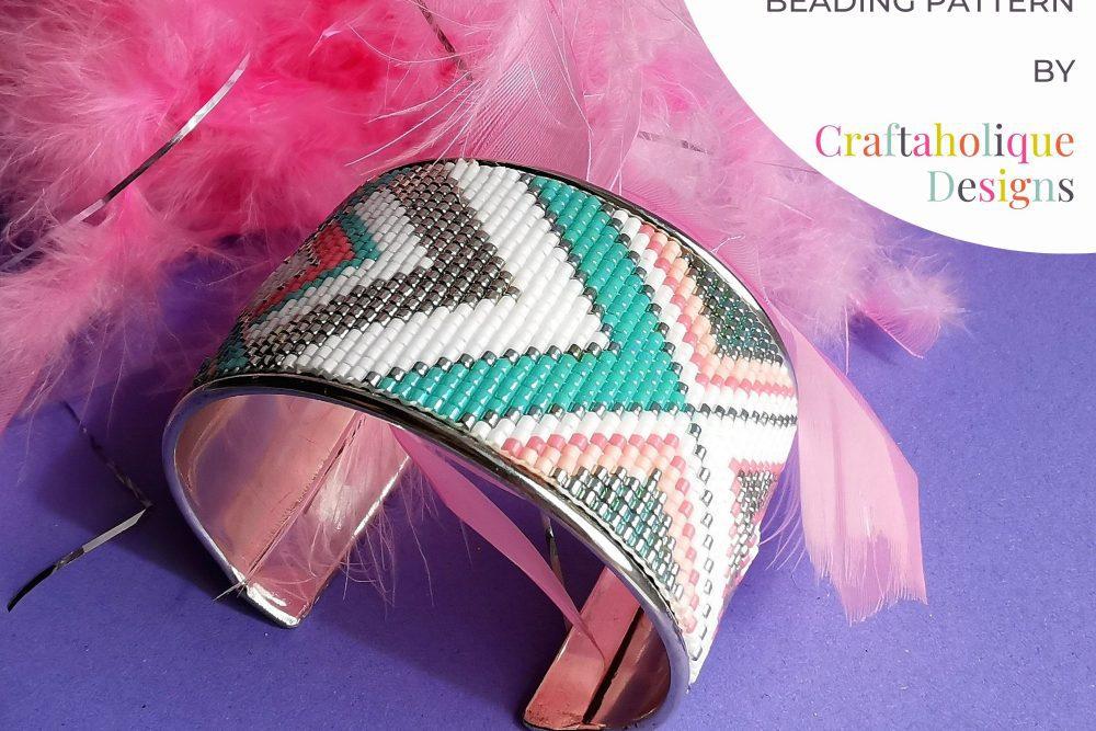 bead loom cuff bracelet by Craftaholique.